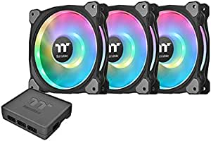Thermaltake Riing Duo 140mm 16.8 Million RGB Color (Alexa, Razer Chroma) Software Enabled 2 Light Rings 18 Addressable LED 9 Blades Hydraulic Bearing Case/Radiator Fan, 3 Pack, CL-F078-PL14SW-A