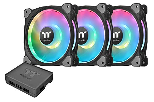 Thermaltake Riing Duo 120mm 16.8 Million RGB Color (Alexa, Razer Chroma) Software Enabled 18 Addressable LED 9 Blades Hydraulic Bearing Case/Radiator Fan, 3-Fan Pack, CL-F073-PL12SW-A