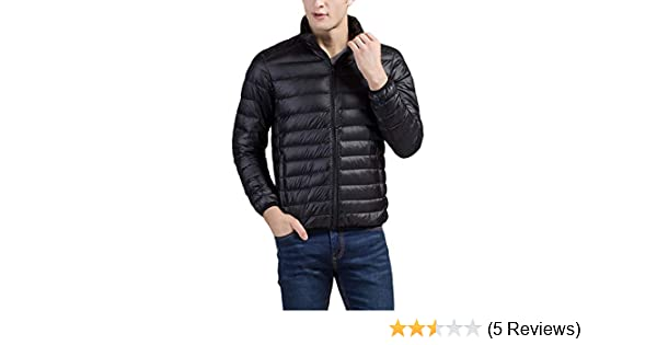 FiveStoresCity Mens Packable Down Jacket Lightweight Winter Puffer Coat(Small, Black) at Amazon Mens Clothing store: