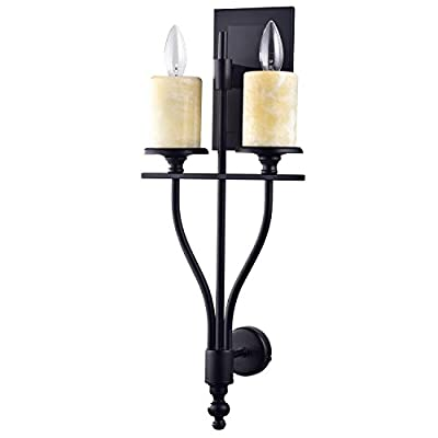 CLAXY Ecopower Vintage Industrial Metal & Marble Wall sconce -- 2 Lights