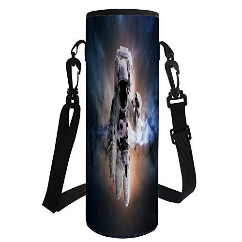 iPrint Water Bottle Sleeve Neoprene Bottle Cover,Astronaut,Floating Astronaut in Space Nebula Heavenly Bodies Star Systems Love Science,Multicolor,Fit for Most of Water Bottles by iPrint