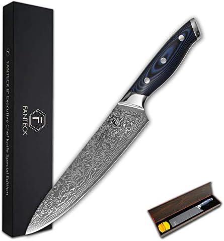 Amazon.com: FANTECK cuchillo de chef de 8 pulgadas Damasco ...