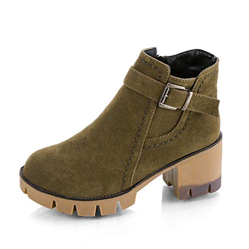 Winter Ankle Boots for Women Flock High Heels Shoes Warm Plush Liner Botas Round Toe Booties Army Green