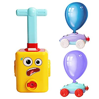 NEXTAKE Balloon Powered Car Inertial Power Car Creative Inflatable Balloon Car Air Powred Race Car Scientific Experiment Toy for Kids with 6 Balloons (Yellow): Toys & Games