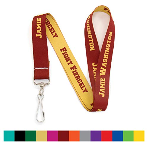- Buttonsmith Custom Solid Lanyard Lanyard - Pack of 25 - Choose Background Color, Font Color and Font Style - Personalize with Your Name or Text - with Swivel Clip - Made in The USA