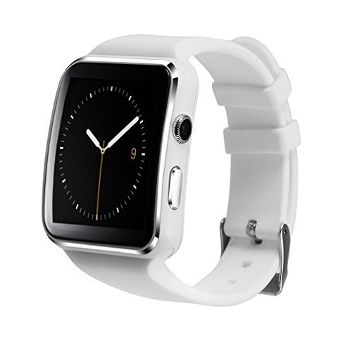 Bluetooth Smart watch kkcite Touch Screen Smart Watches Support Micro SIM Card for Android IOS iPhone Samsung Huawei Sony Sleep Tracker, Men Women Kids Curved Screen Smartphone (white)