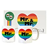 Rainbow Heart Mr. & Mr. Pride Couple White Ceramic Mugs Set of 2