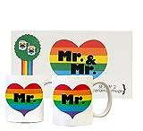 Rainbow Heart Mr. & Mr. Pride Couple White Ceramic Mugs Set of 2