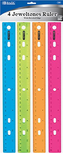BAZIC Jeweltones Color Ruler, 12 Inches, 1 Pack of 4 Rulers ()