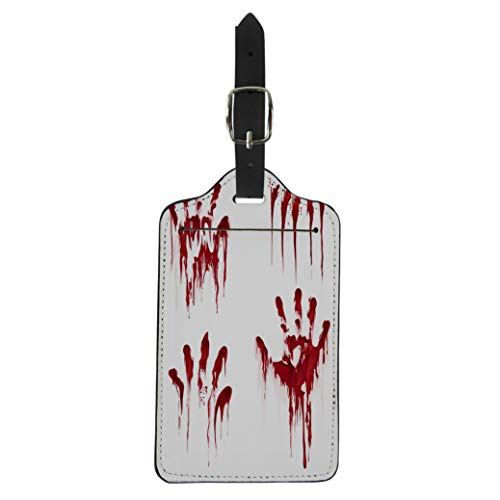 Pinbeam Luggage Tag Bloody Hand Horror Scary Blood Dirty Handprint Suitcase Baggage Label ()