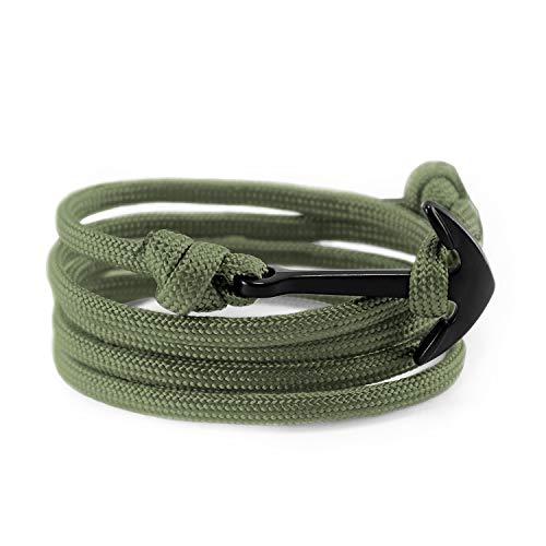 Flexo Fitness Matte Handmade Motivational Black Plated Nylon Adjustable Wrist Rope Anchor Bracelet for Men and Women - Army Green