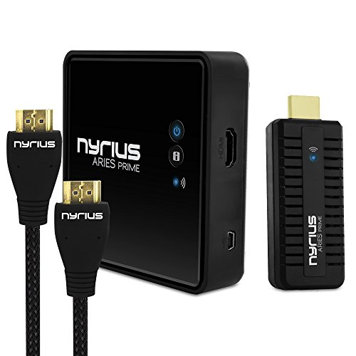 (Nyrius Aries Prime Wireless Video HDMI Transmitter & Receiver for HD 1080p Video Streaming with Bonus HDMI Cable )