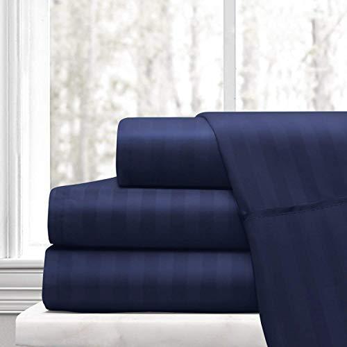 RRLINEN 5 Piece Split Sheet Set 15 inch Deep Pockets 800 Thread Count 100% Cotton, Navy Blue Stripe Split King Size Split Sheets Sets for Adjustable beds