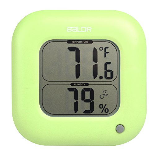 BALDR Thermo Square Thermometer and Hygrometer, Green