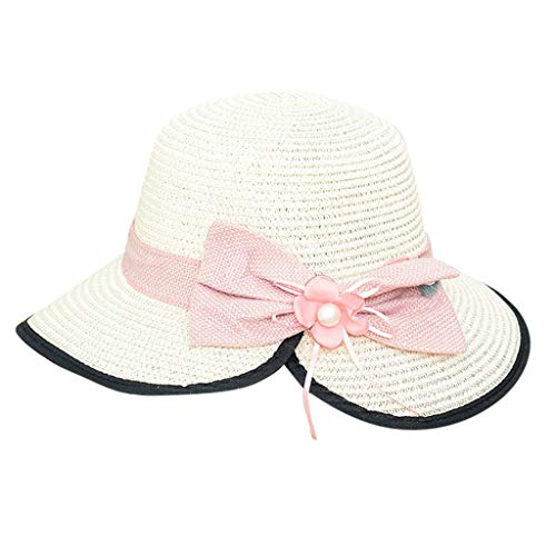 WENSY Men's and Women's Casual Wide-Brimmed Hat Soft Split Fork Collapsible Sun Hat Beach Sun Hat Sheepskin Hat Bow Hat ()
