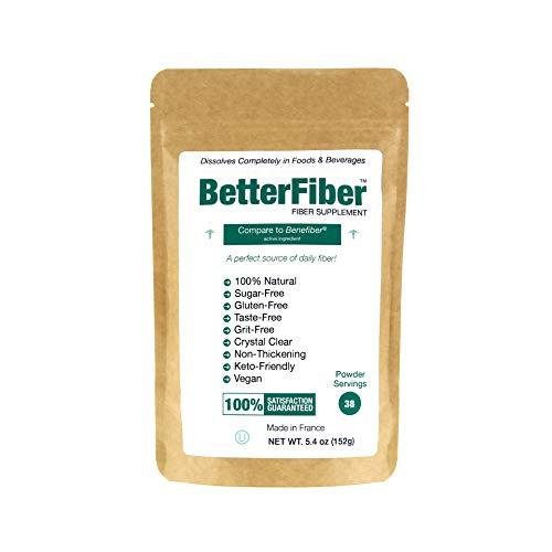 BetterFiber – Prebiotic Fiber Supplement [100% Generic Equivalent of Leading Brand] ⊘ Non-GMO ❤ Gluten-Free ☮ Vegan ✡ OU Kosher Certified – 5.4oz/152g (38 Servings)