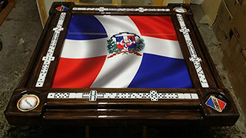 Dominican Flag Domino Table with Presidente and Brugal Cup Holders by Domino Tables by -