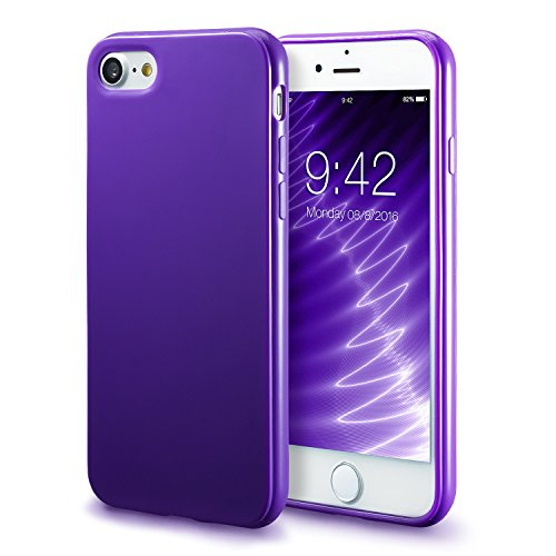 iPhone 7 Purple Case/iPhone 8 Purple Case, technext020 Shockproof Ultra Slim Fit Silicone TPU Soft Gel Rubber Cover Shock Resistance Protective Back Bumper for iPhone 7 / iPhone 8 Purple
