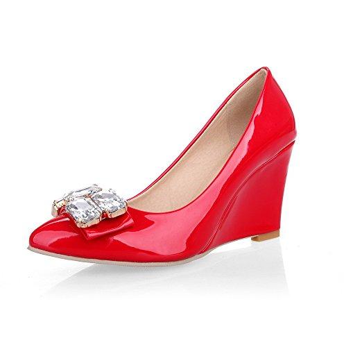 VogueZone009 Damen PU Leder Rein Ziehen auf Spitz Zehe Hoher Absatz Pumps Schuhe Rot