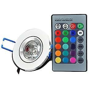Leedfsw XLZM-RGB3THD Infrared 3W 180lm LED RGB Light Ceiling Lamp w/ Remote Controller(AC 85~265V)