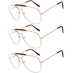 Aviator Clear Lens Metal Sunglasses Men's Women's Non-Prescription OWL (aviator_brow_bar_gold_3p, PC Lens)
