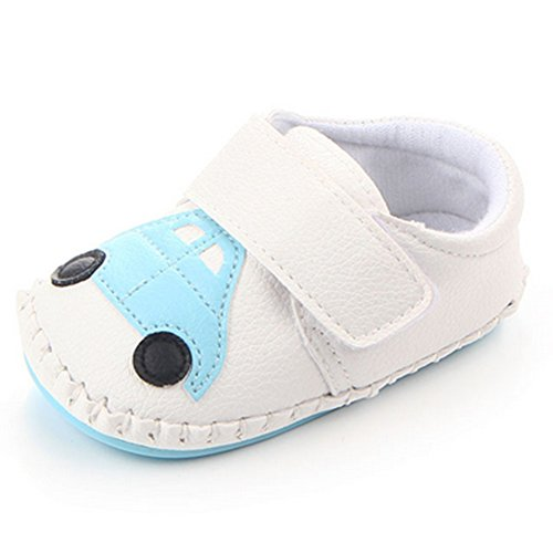 Lidiano Baby Non Slip Rubber Sole Cartoon Walking Slippers Crib Shoes Infant/Toddler (12-18 Months, White Car)
