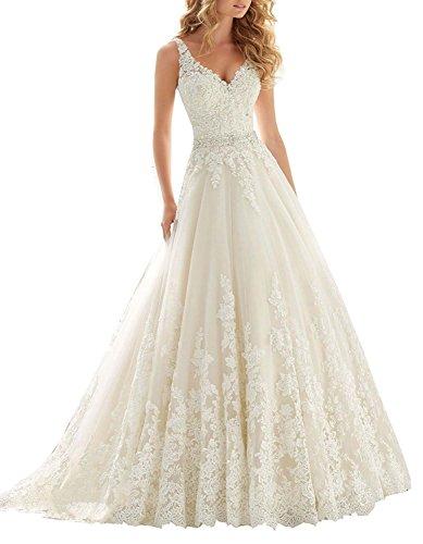 MJBridal Women's V Neck Lace Wedding Dress Beaded Applique Backless Bride Bridal Gown