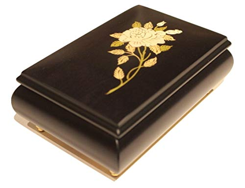 Black Floral Italian inlaid musical jewelry box in elegant matte finish with customizable tune options