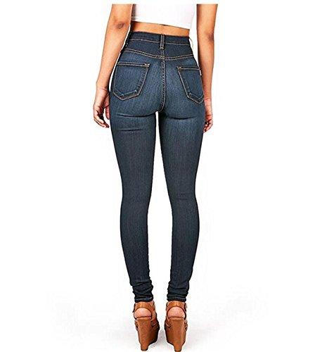 Crayon Collant Bleu Denim Sexy Skinny Jeans Printemps Femme Haute Taille Leggings Pantalons fonc Pants Casual RUROSqvz
