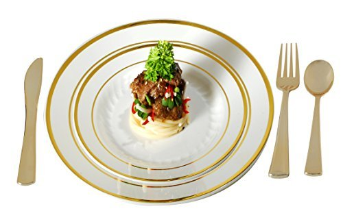 (Plastic Plates Disposable-Silverware Combo | Elegant Gold Rimmed Dishes and Plastic Gold Cutlery Dinner Service | Service for 24 (129-piece Bulk Set) IVORY/GOLD)