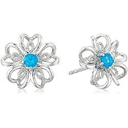 Sterling Silver Neon Apatite Stud Earrings