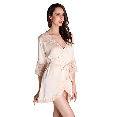 Morbido Pigiami da Giallo Accogliente Donna Yuncai Camicie Elegante Notte Sexy Pizzo Rwg0xqZPFx