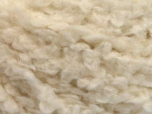 Cream White Boucle Yarn - Ice Soft Acrylic, Nylon Blend, 50 Gram, 60 Yards