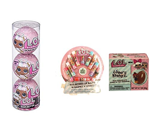 - LOL Surprises 3 Pack Glitter Glam, Gift Bag 10 Pack Lip Balm, LOL Finders Keepers Chocolate Egg Surprise