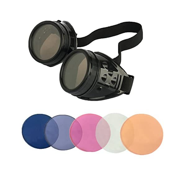 Minidot Steampunk Antique Safety Goggles with 5 Color Set of Rechangeable Lens 5