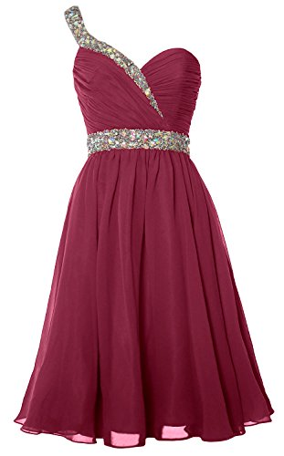 Short Formal Homecoming Party Shoulder Gown One Gorgeous MACloth Prom Weinrot Dress Cwnq0tXZH