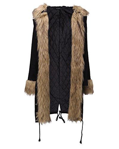 Blouson Hiver Parkas Noir1 Longue Femme Chaud Manteau Zanzea Epaise Capuche Militaire Fleece Longue Veste Fourrure w8Hdqd7