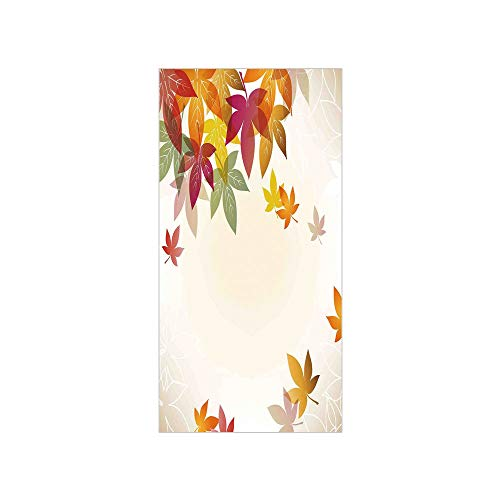 3D Decorative Film Privacy Window Film No Glue,Fall Decorations,Silhouettes of Maple Tree Leaves in Pastel Classical Shady Nature Graphic Image,Multi,for Home&Office