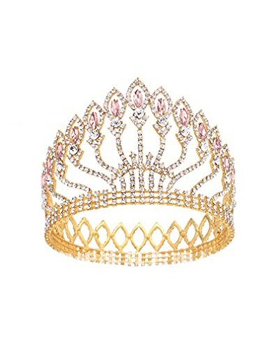 Shindn Vintage Baroque Wedding Crown, Bridal Tiaras for Girl and Women, Suitable for Wedding, Party and Evening (Gold / pink)