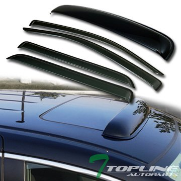 Toyota Sequoia Vent - Topline Autopart Smoke Window Deflector Vent Shade Guard + Sunroof Moonroof Sun Moon Roof Visors 5 Pieces For 08-18 Toyota Sequoia