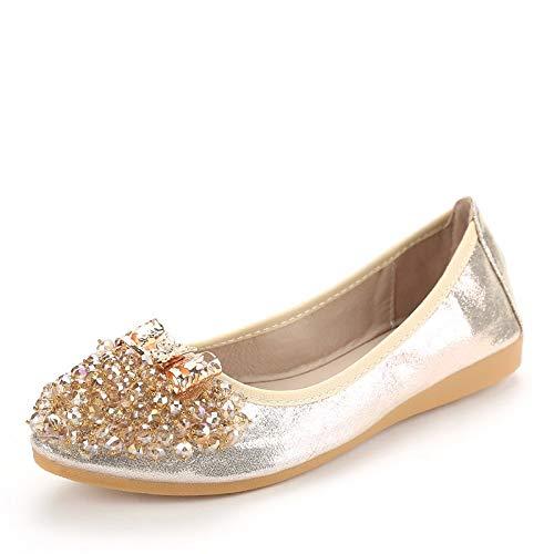 FLYRCX de Zapatos Ballet Baja UE Plegables Maternidad y EU Rhinestone Zapatos 42 Planos de Suave 35 Boca Moda cómodo Zapatos 6Yxr6w7