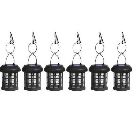 Hanging Solar Patio Umbrella Lanterns with Umbrella Clips - Set of 6 - Black