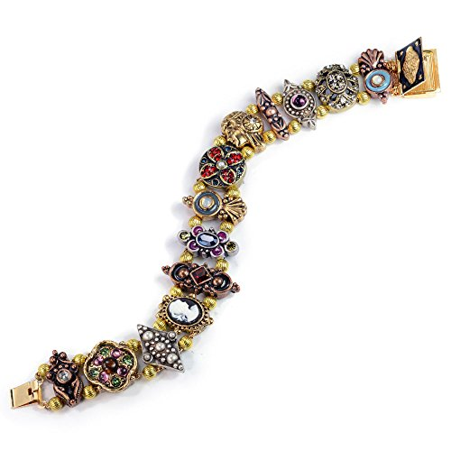 Sweet Romance Vintage Victorian Charm Slide - Gold Slide Bracelet Cameo