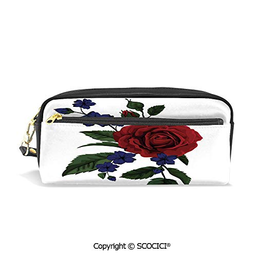 (Girls Boys 3D Printed PU Pencil Case Holders Bag with Zipper Rosebud with Little Blossoms Leaves Love and Passion Theme Artful Stationery Makeup Cosmetic Bags Back to School)