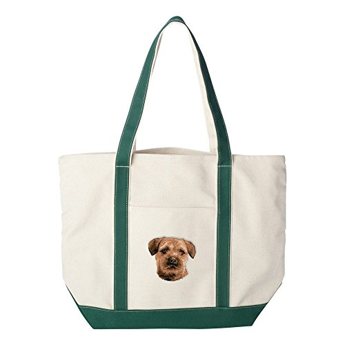 (Cherrybrook Dog Breed Embroidered Canvas Tote Bags - Green - Border Terrier)