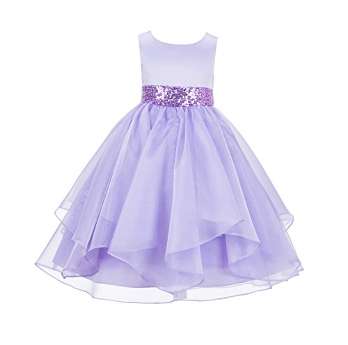 (ekidsbridal Asymmetric Ruffled Organza Sequin Toddler Flower Girl Dress Pageant Gown 012S 2 Lilac)