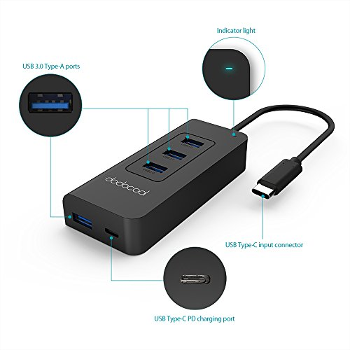 dodocool USB C Hub with 4 USB 3.0 Ports and Type C Port SuperSpeed Power Delivery for Apple New MacBook/Google ChromeBook Pixel by dodocool (Image #1)