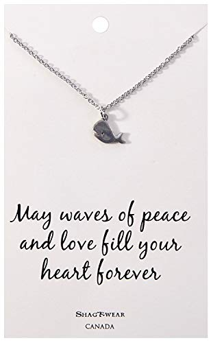 Shag Wear Animal Inspirations Quote Pendant Necklace (Tiny Whale Pendant)