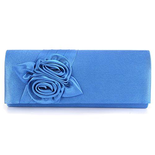 Wedding Rectangle Clutch Party Anladia Rosette Purse Evening Blue Royal Bridal Retro Satin Bag Prom wqtwXI