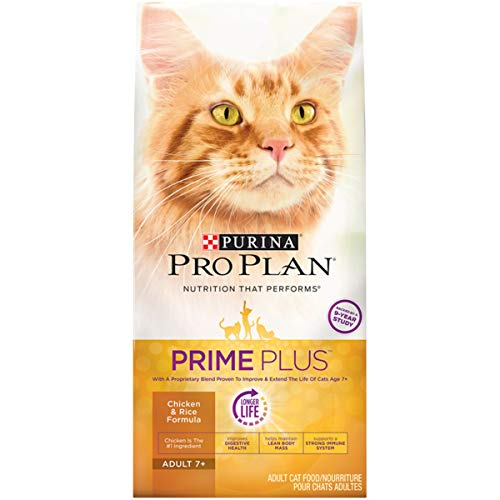 Purina Pro Plan Senior Dry Cat Food, PRIME PLUS Chicken & Rice Formula - 3.2 lb. Bag